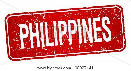 Philippines Red Stamp Isolated On White Background