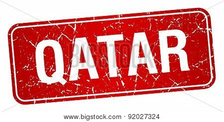 Qatar Red Stamp Isolated On White Background
