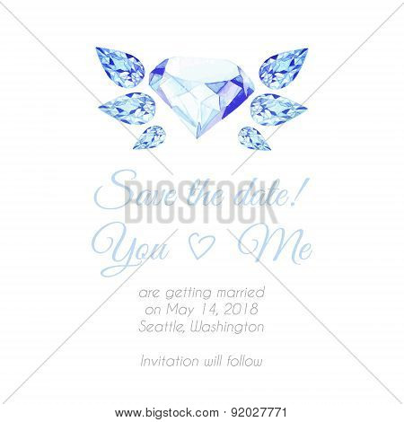 Blue Diamond With Wings Watercolor Vector Design Background