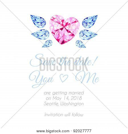 Diamond Heart With Wings Watercolor Vector Design Background