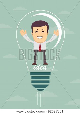 Businessman create idea. vector illustration