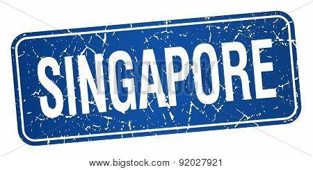 Singapore Blue Stamp Isolated On White Background