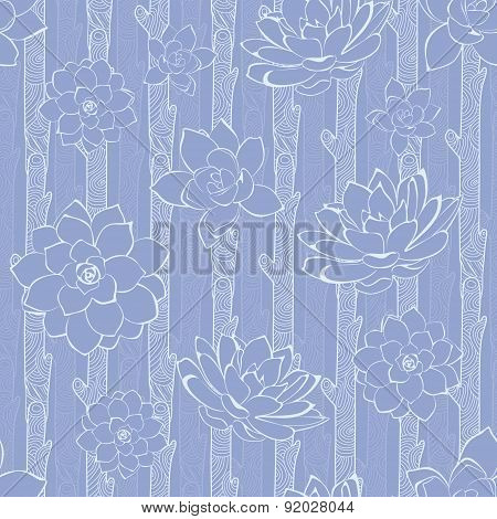 Vector Pastel Purple Blooming Branches Seamless Pattern