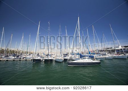 BARCELONA, SPAIN - MAY 3, 2015: View of the Port Vell in Barcelona, Catalonia, Spain