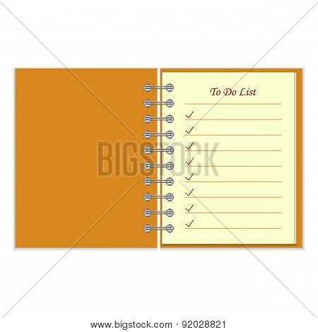 Notebook with to do list