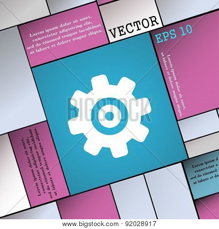 Cog Settings, Cogwheel Gear Mechanism Icon Sign. Modern Flat Style For Your Design. Vector