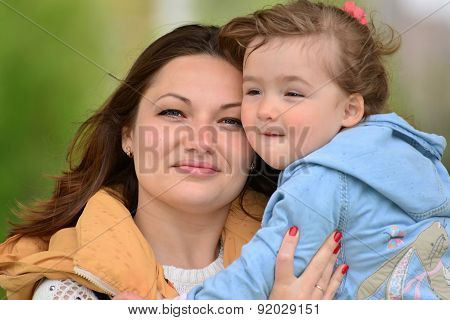 Portrait Of A Mother With Her Daughter 2.5 Years For Walk