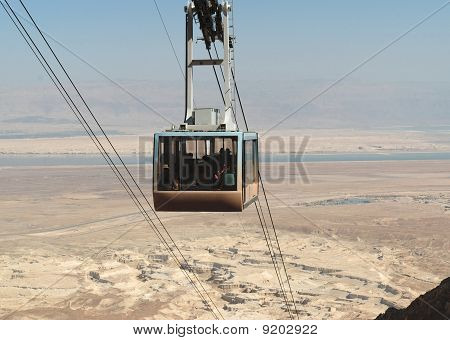 Aerial tramway or cable car over the desert