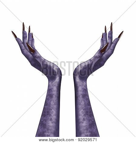 Isolated evil witch hands.