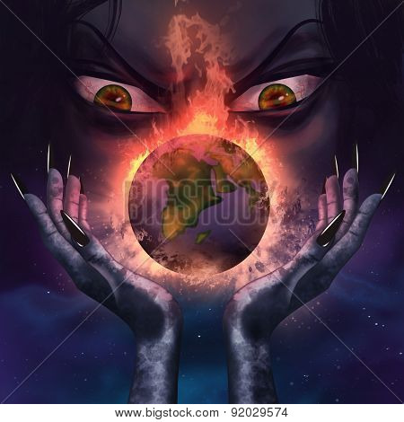 Evil witch holding a burning planet.
