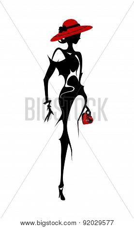 Isolated vector style fashion woman with purse.