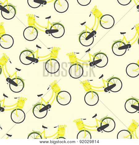 Pattern With Bicycles And Chamomiles