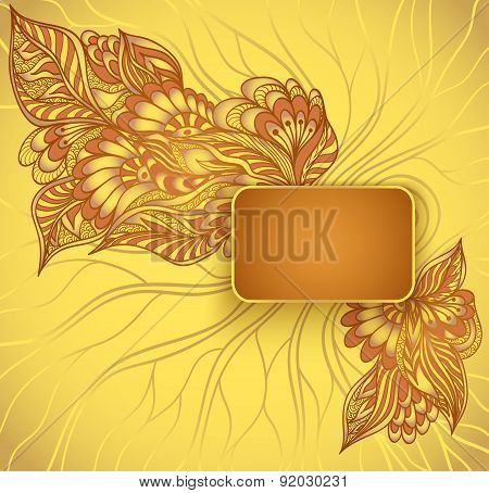 Rectangular frame with doodle flowers in gold