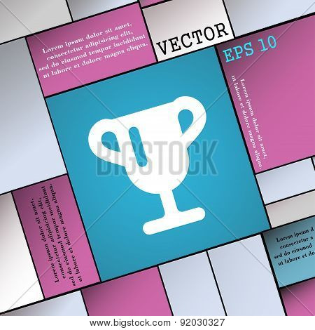 Winner Cup, Awarding Of Winners, Trophy Icon Sign. Modern Flat Style For Your Design. Vector