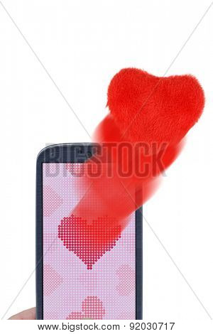 Blue smartphone and soft hearts. Idea for Valentines Day messages, love, lovers, love apps, Internet, blogs and others.