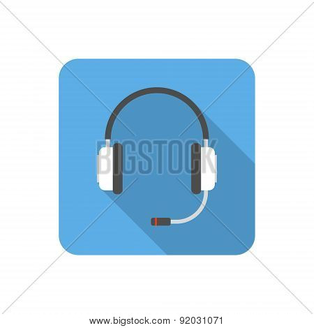Flat Headset Icon With Long Shadow. Vector Illustration