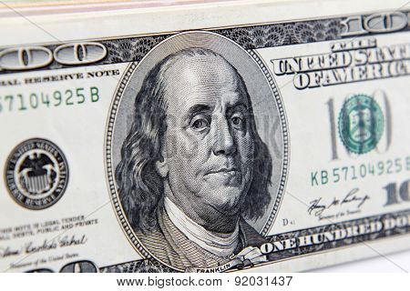Benjamin Franklin on one hundred dollar banknote