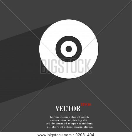 Cd Or Dvd Icon Symbol Flat Modern Web Design With Long Shadow And Space For Your Text. Vector