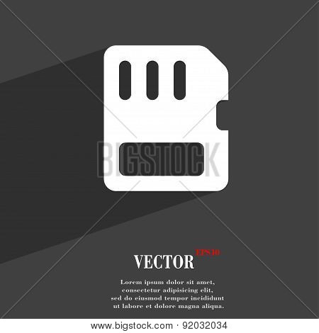Compact Memory Card Icon Symbol Flat Modern Web Design With Long Shadow And Space For Your Text.