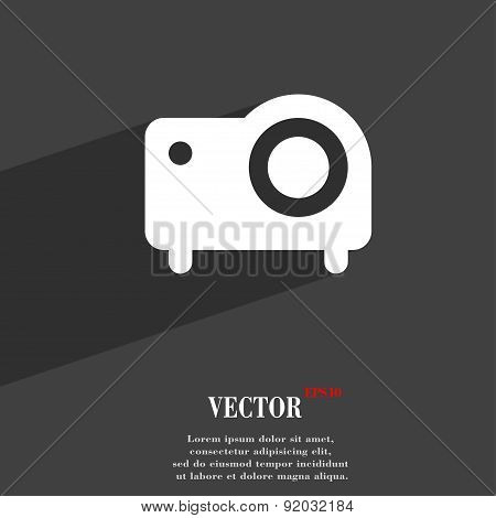 Projector Icon Symbol Flat Modern Web Design With Long Shadow And Space For Your Text. Vector