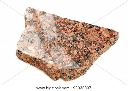 Piece Of Polished Granite Isolated On White Background