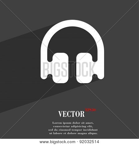 Headphones, Earphones Icon Symbol Flat Modern Web Design With Long Shadow And Space For Your Text.