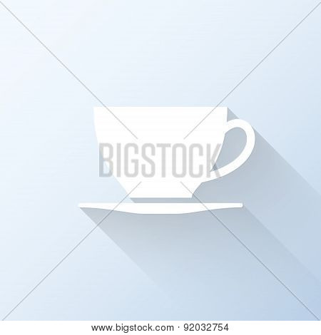 Flat Coffee Cup Icon With Long Shadow. Vector Illustration