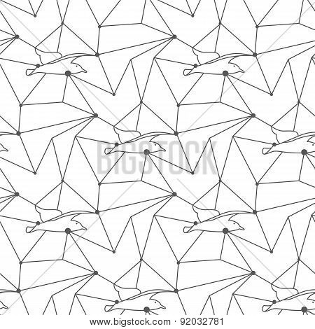 Seamless seagull pattern tile background geometric