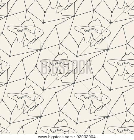Seamless fish pattern tile background geometric