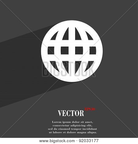 Globe, World Map Geography Icon Symbol Flat Modern Web Design With Long Shadow And Space For Your Te