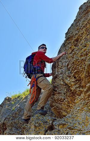 Climber Man With Backpack