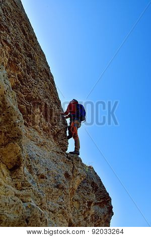 Rock Climber With Backpack