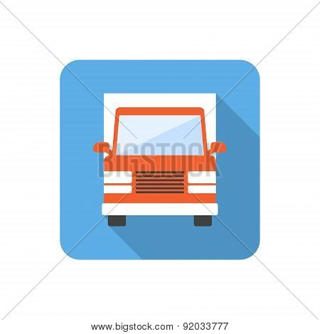 Flat Truck Icon With Long Shadow. Vector Illustration