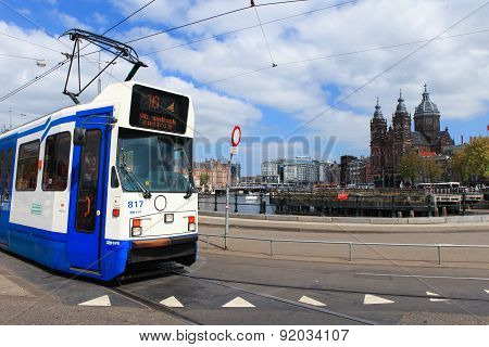 Tram (Local light rail transportation) heading to Amsterdam central