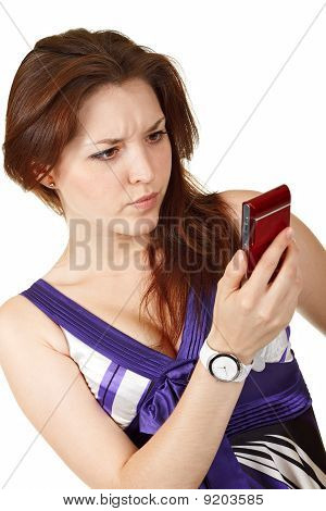 Young Beautiful Woman Reading Sms