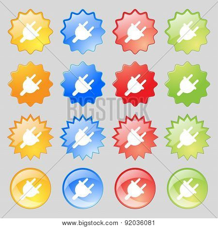 Electric Plug, Power Energy Icon Sign. Set From Sixteen Multi-colored Glass Buttons With Place For T
