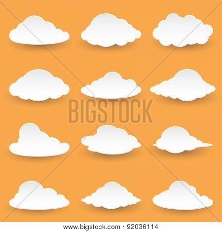 Set Icon Messages in the form of Clouds. Illustration Vector.