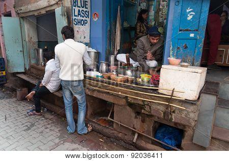 Indian Milkman Prepares The Popular Drink Lassi In Blue Lassi Shop