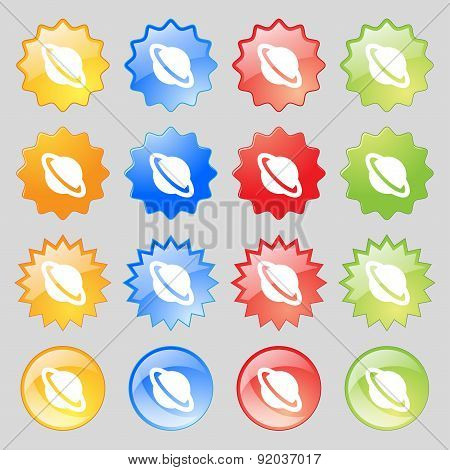 Jupiter Planet Icon Sign. Set From Sixteen Multi-colored Glass Buttons With Place For Text. Vector