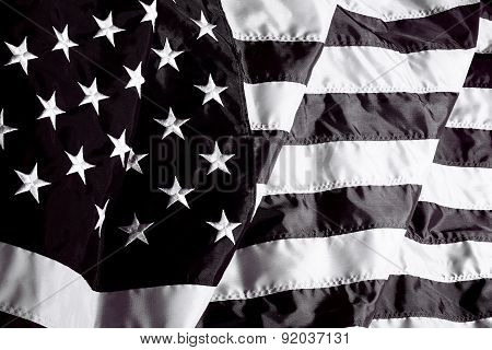 United States Of America Flag In Black And White