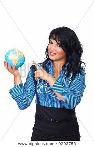 Business Woman Pointing To Globe