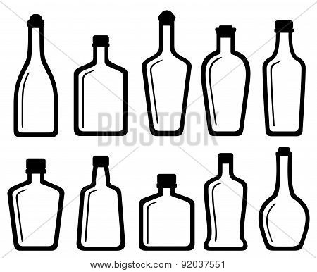 Set White Glass Alcohol Bottles