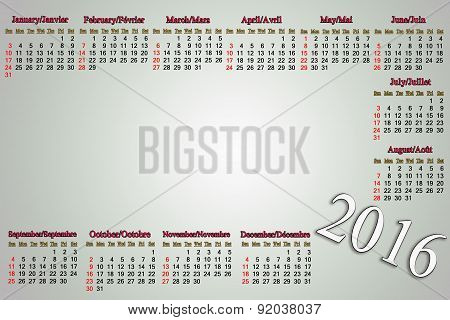 Calendar For 2016 In English And French On Pale Background