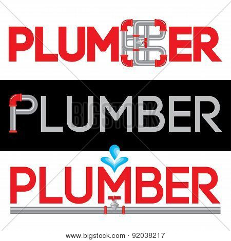 Plumbing Business Logo Vector Set.