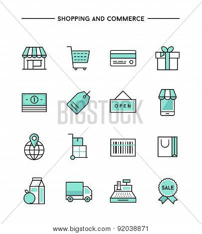 Set Of Flat Thin Line Icons On Subject Of Shopping And Commerce
