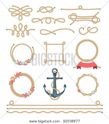 Set Of Beautiful Elements Made Of Nautical Rope