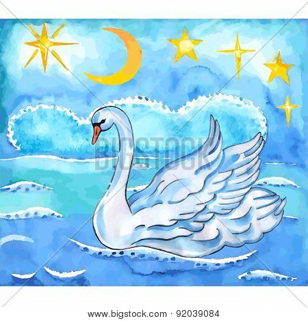 Summer Night Sky, Sea Background And Swan With Lift Wings