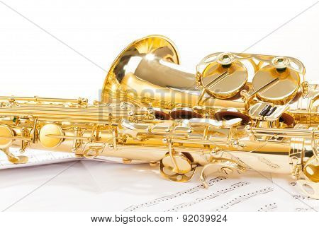 Beautiful golden alto saxophone view