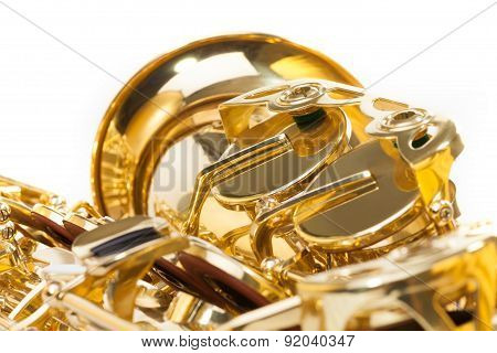 Saxophone with detailed view of keys isolated
