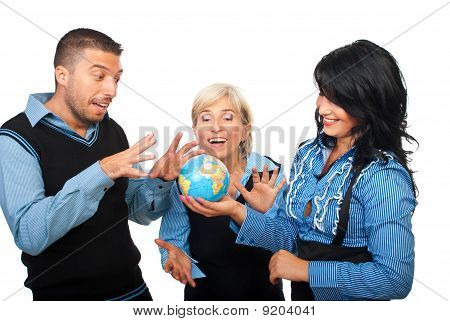 Playful Business People With Globe